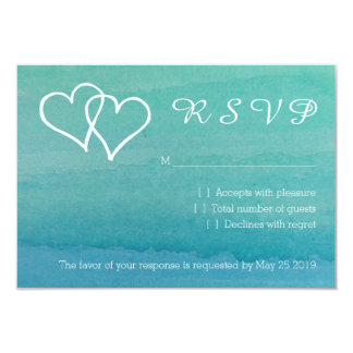 Turquoise blue watercolor RSVP beach wedding cards