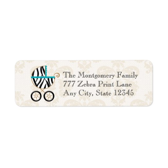 Turquoise Blue Zebra Print Baby Carriage Return Return Address Label