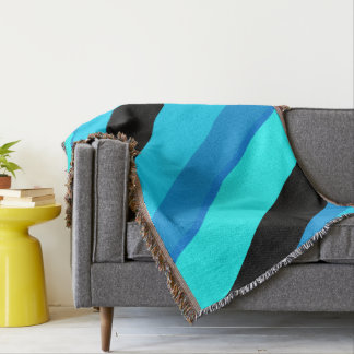 Turquoise Blues Black Stripes Throw Blanket