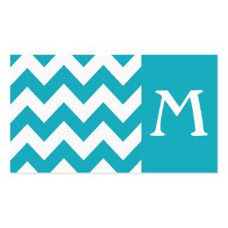 Turquoise Bold Chevron Monogram Business Card