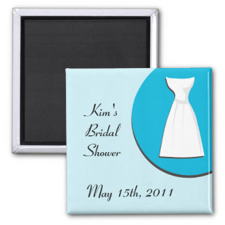 Turquoise bridal shower magnet with dress