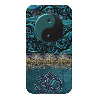 Turquoise Brocade with Symbols and Metallic Trim Case For The iPhone 4