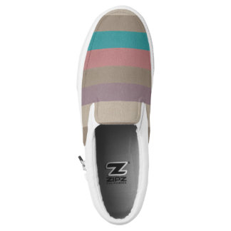 Turquoise, brown and dusty rose striped Slip-On shoes