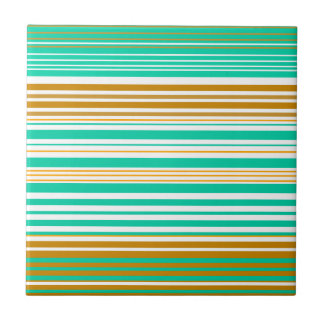 Turquoise brown and white stripes small square tile