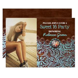 turquoise brown country western sweet 16 party card