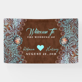turquoise brown cowboy country western wedding banner