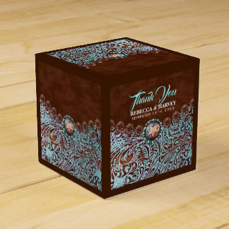 turquoise brown cowboy country western wedding favour box