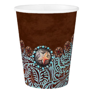 turquoise brown cowboy country western wedding paper cup