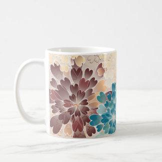 Turquoise Brown & Cream Flowers Retro Coffee Mug