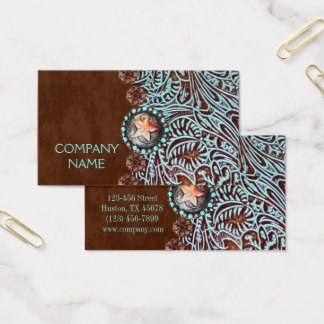 turquoise brown western country tooled leather business card