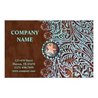 turquoise brown western country tooled leather flyer