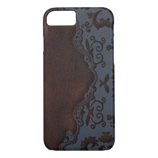 turquoise Brown western country tooled leather iPhone 8/7 Case