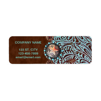 turquoise brown western country tooled leather return address label