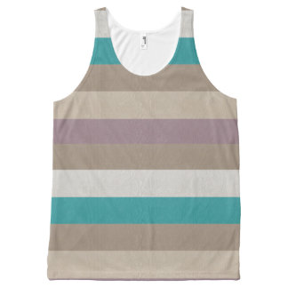 Turquoise, brown, white and violet striped All-Over print singlet