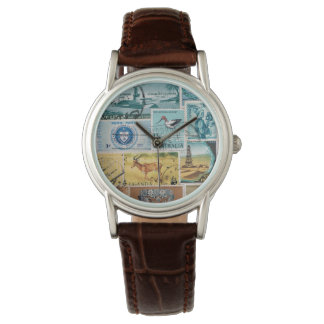 Turquoise Brown Wristwatch, Postage Stamp Art Wristwatch