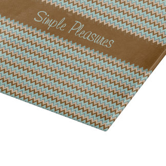 Turquoise Brown Zigzag Pattern Cutting Board