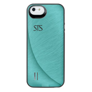 Turquoise Brushed Metal Look iPhone SE/5/5s Battery Case