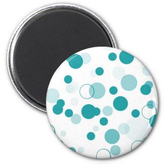 Turquoise bubbles 6 cm round magnet