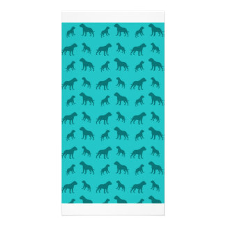 Turquoise bulldog pattern photo card template