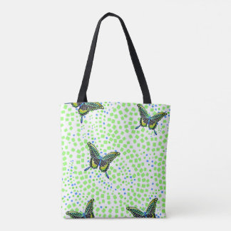 turquoise butterfly 83 tote bag