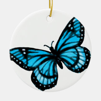 Turquoise Butterfly Christmas Ornament