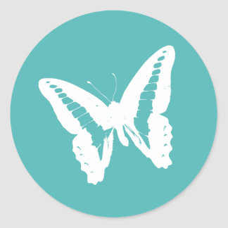 Turquoise Butterfly Envelope Sticker Seal