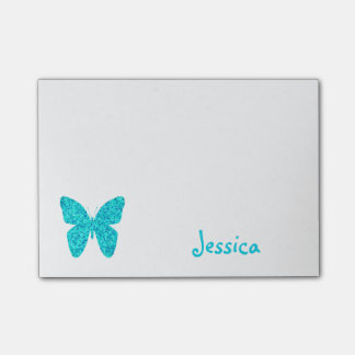 Turquoise Butterfly Personalized Girly Name Post-it Notes