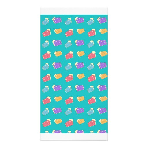 Turquoise cake pattern photo card template
