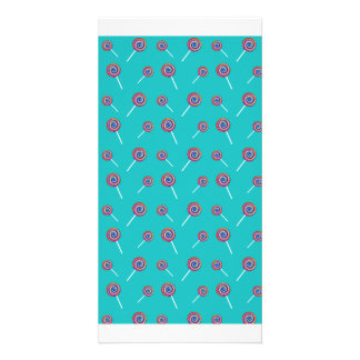 turquoise candy pattern photo greeting card