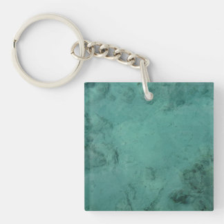 Turquoise Caribbean Tropical Sea Double-Sided Square Acrylic Key Ring