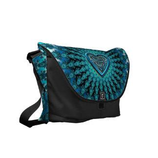 Turquoise Celtic Heart Knot Fractal Mandala Messenger Bag