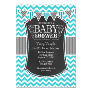 Turquoise Chalkboard Chevron Baby Shower Invite