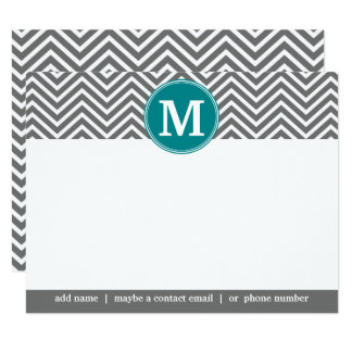 Turquoise Charcoal Chevrons Monogram Thank You Card