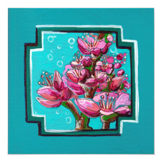 Turquoise cherry blossom berries card