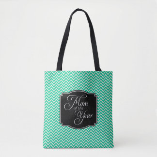Turquoise Chevron Stripes Mom of the Year Tote Bag