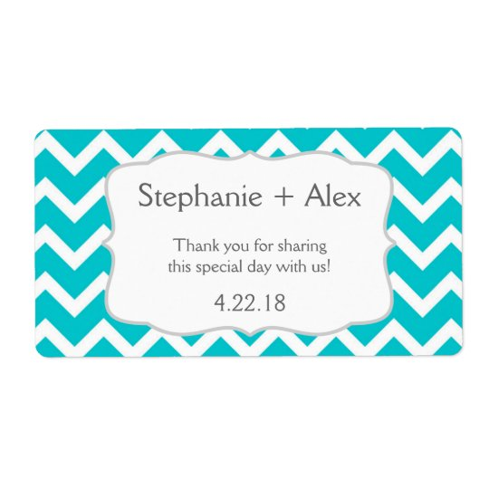 Turquoise Chevron Water Bottle - customise it! Shipping Label