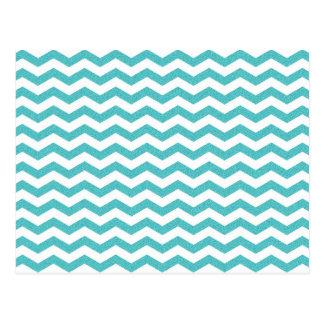 Turquoise chevron zig zag textured zigzag pattern postcard