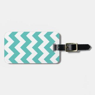 Turquoise Chevron Zigzag Luggage Tag
