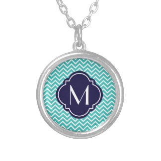 Turquoise Chevron Zigzag Stripes with Monogram Personalized Necklace