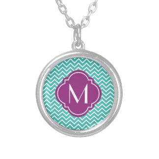 Turquoise Chevron Zigzag Stripes with Monogram Round Pendant Necklace