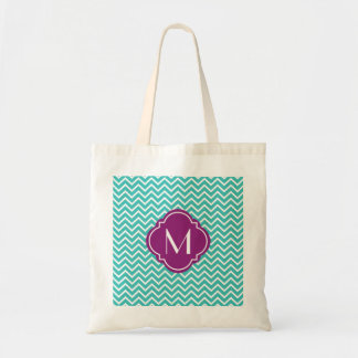 Turquoise Chevron Zigzag Stripes with Monogram Tote Bags