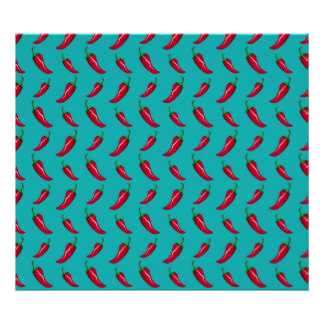 turquoise chili peppers pattern print