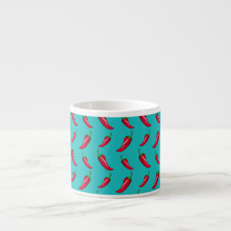 turquoise chili peppers pattern espresso mug