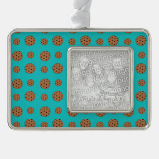 Turquoise chocolate chip cookies silver plated framed ornament