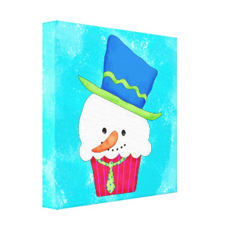 Turquoise Christmas Whimsy Snowman Cupcake Art Canvas Prints