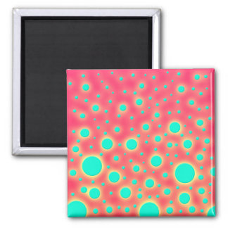 Turquoise Circles over Bright Pink Modern Design Refrigerator Magnets