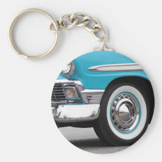 Turquoise Classic Basic Round Button Key Ring