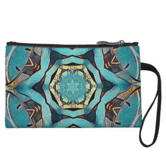 Turquoise clutch wristlet