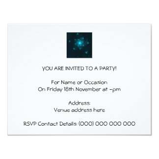 Turquoise Color Abstract Fractal. 11 Cm X 14 Cm Invitation Card