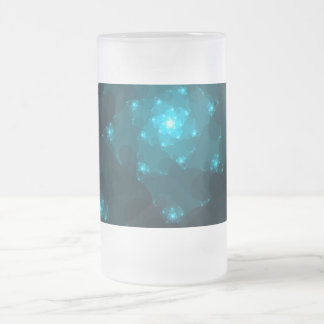 Turquoise Color Abstract Fractal. Frosted Glass Beer Mug